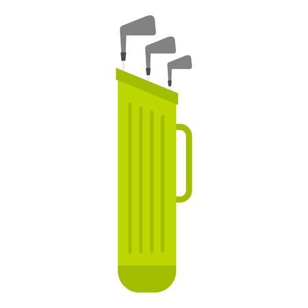 Sac de golf avec icône de clubs plat isolé sur fond blanc illustration vectorielle Vecteurs