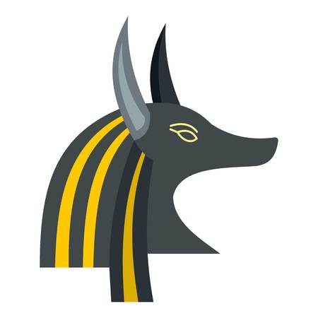 Anubis head icon flat isolated on white background vector illustration