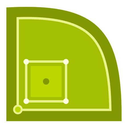 Green baseball field icon flat isolated on white background vector illustration