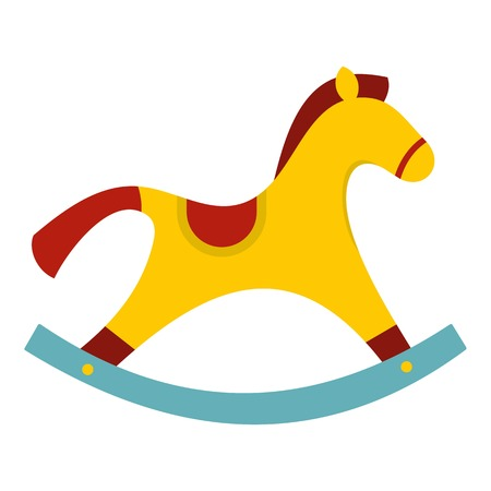 Yellow wooden rocking horse icon flat isolated on white background vector illustration