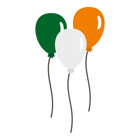 Balloons in Irish flag colors icon flat isolated on white background vector illustration Illustration