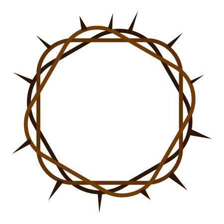 Icono de corona de espinas plana aislado en la ilustración de vector de fondo blanco