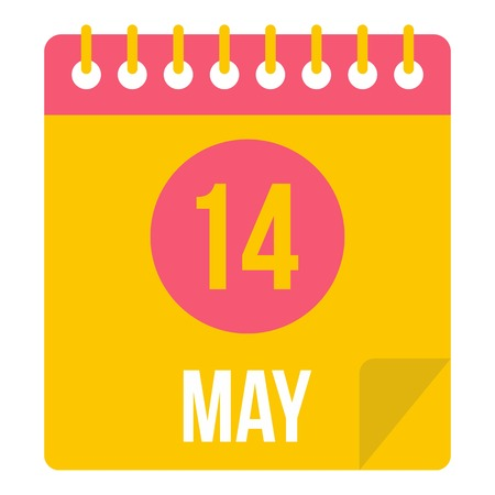 calendar icon: May 14 Calendar icon isolated Illustration