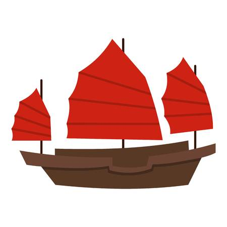 Chinese boat with red sails icon flat isolated on white background vector illustration