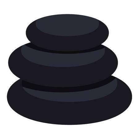 Stack of black basalt balancing stones icon flat isolated on white background vector illustration Ilustrace