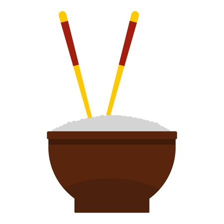 cooked rice: Brown bowl of rice with pair of chopsticks icon Illustration