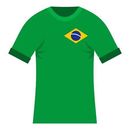 unrecognizable: Brazilian yellow and green soccer shirt icon Illustration