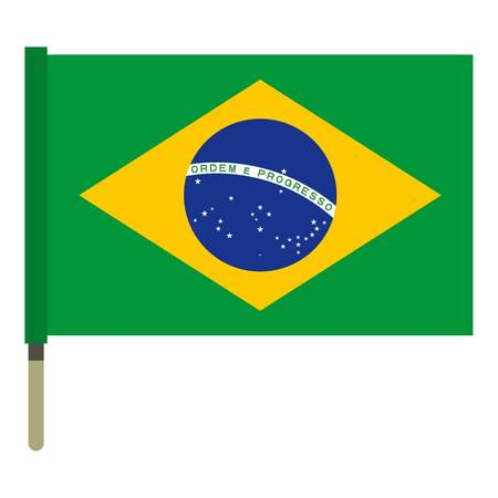 federative republic of brazil: National flag of Federative Republic of Brazil icon flat isolated on white background vector illustration