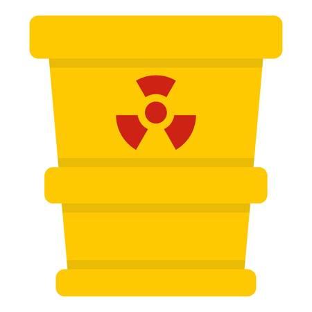 poison: Yellow trashcan containing radioactive waste icon flat isolated on white background vector illustration Illustration