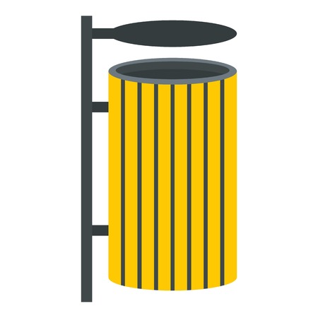 dumpster: Yellow litter waste bin icon flat isolated on white background vector illustration