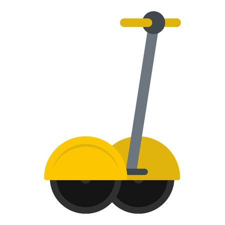 Yellow two wheeled battery powered electric vehicle icon flat isolated on white background vector illustration Illustration