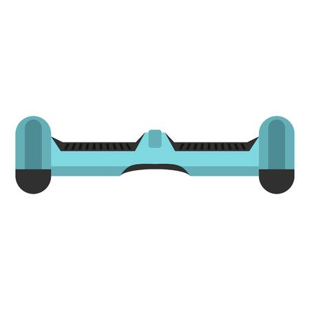 Blue dual wheel self balancing electric skateboard icon flat isolated on white background vector illustration Illustration