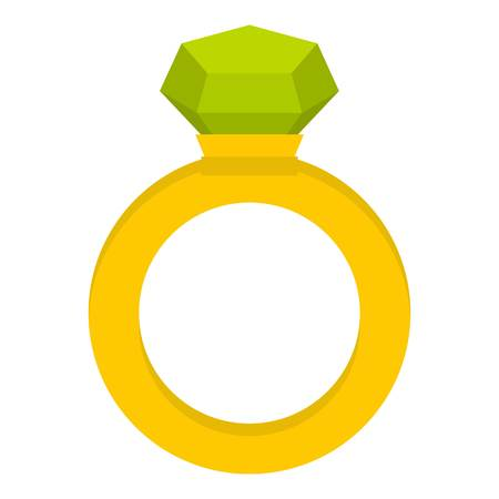 happy woman: Gold ring with green gem icon isolated