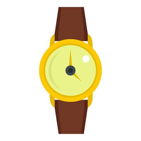 cronógrafo: Gold wristwatch icon flat isolated on white background vector illustration
