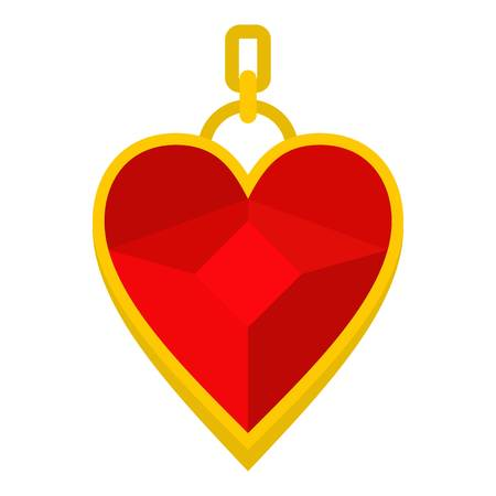 platinum: Red heart shape gemstone pendant icon flat isolated on white background vector illustration Illustration