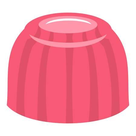 christmas pudding: Pink fruit jelly icon flat isolated on white background vector illustration