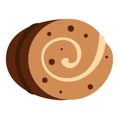 chocolate swirl: Sweet, creamy roll icon isolated