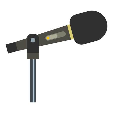 amplification: Sound recording equipment icon flat isolated on white background vector illustration