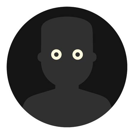 Frightened man in the darkness icon flat isolated on white background vector illustration