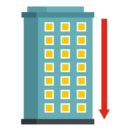 down town: Building and red down arrow icon flat isolated on white background vector illustration Illustration
