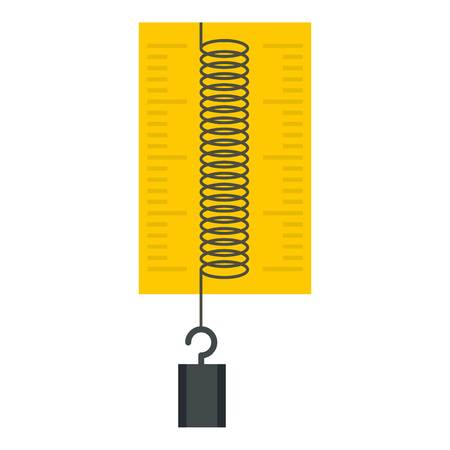 spring balance: Dynamometer with weights icon flat isolated on white background vector illustration