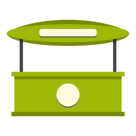 carretto gelati: Green tent shop icon flat isolated on white background vector illustration