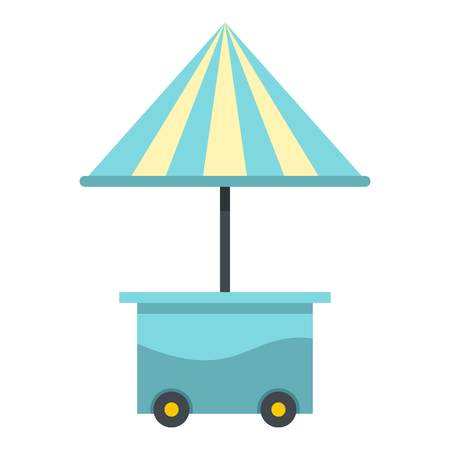 carretto gelati: Mobile cart with blue umbrella for sale food icon flat isolated on white background vector illustration
