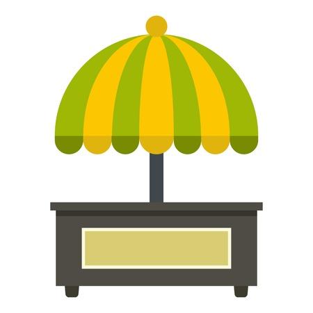carretto gelati: Contatore vuoto con giallo e verde ombrello icona piatto isolato su sfondo bianco illustrazione vettoriale