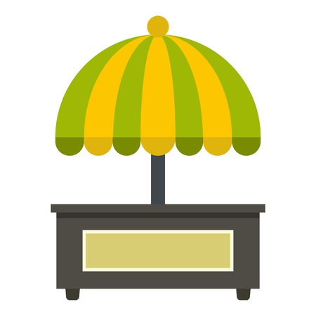 Empty counter with yellow and green umbrella icon flat isolated on white background vector illustration