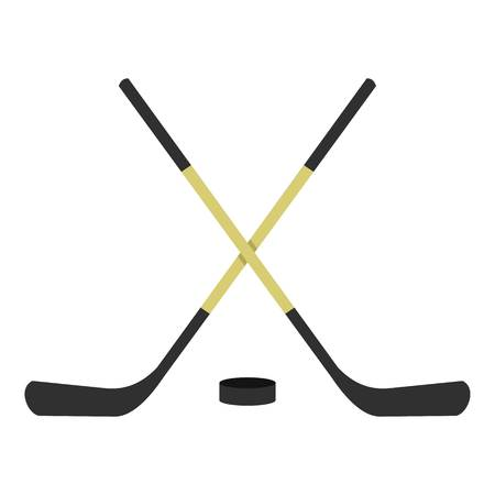 Crossed hockey sticks icon flat isolated on white background vector illustration Illustration
