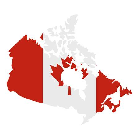 Map of Canada in national flag colors icon.