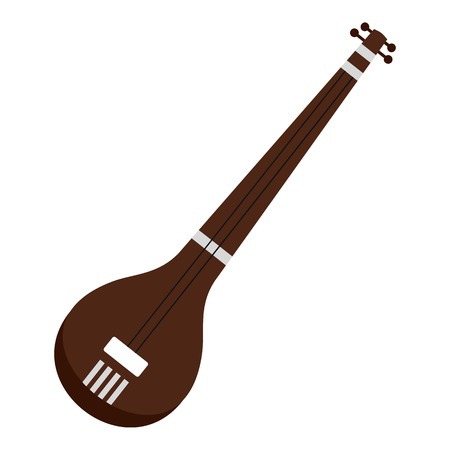 Traditional Indian sarod icon isolated.