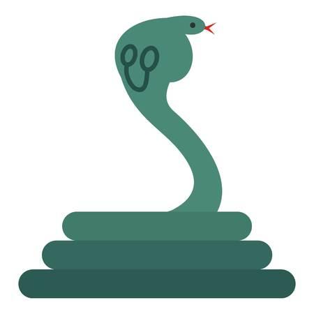 poison: Cobra icon flat isolated on white background vector illustration