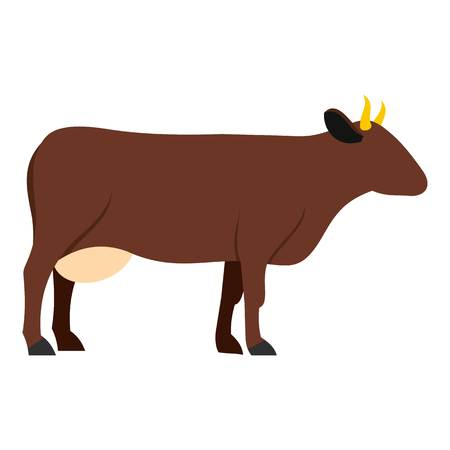 chuck: Cow icon flat isolated on white background vector illustration