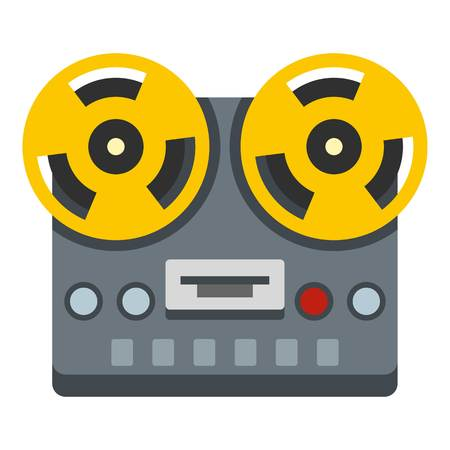 Vintage reel to reel tape recorder deck icon flat isolated on white background vector illustration