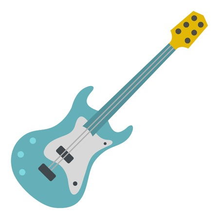Blue electric guitar icon flat isolated on white background vector illustration