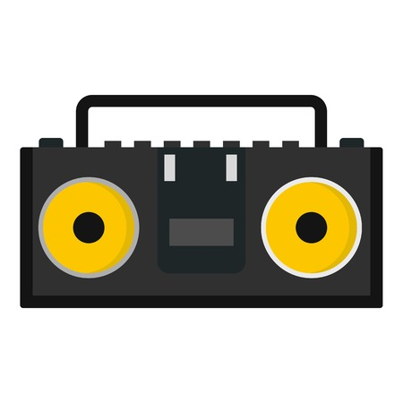 Vintage black tape recorder for audio cassettes icon flat isolated on white background vector illustration