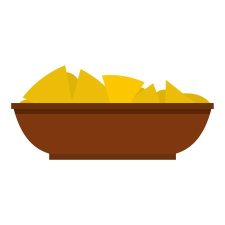 chips and salsa: Mexican nachos in brown bowl icon isolated Illustration