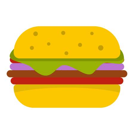 Hamburger with cheese and meat patty icon isolated Illustration