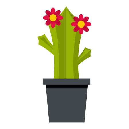 prickles: Cactus with flowers icon isolated