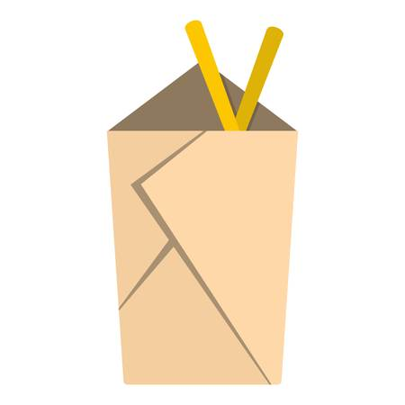 chinese take away container: Chinese take out box with chopsticks inside icon flat isolated on white background vector illustration