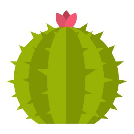 Cactus with flower icon flat isolated on white background vector illustration