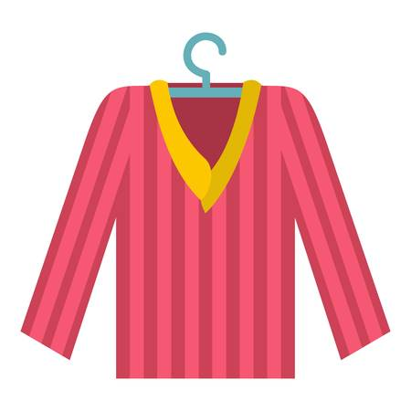 pyjama: Pink striped pajama shirt icon flat isolated on white background vector illustration