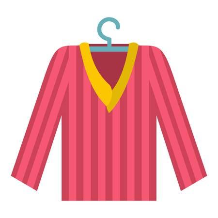 Pink striped pajama shirt icon flat isolated on white background vector illustration