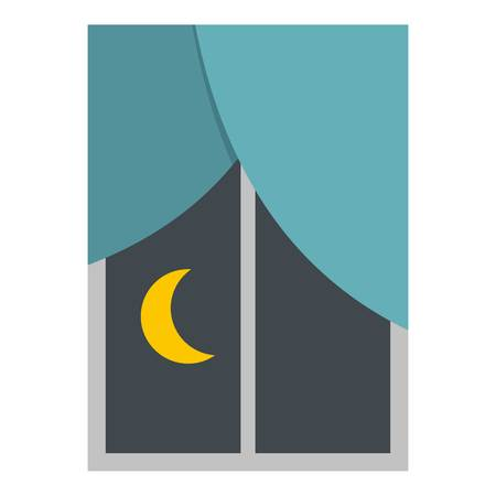 fairy: Night view from a window icon flat isolated on white background vector illustration