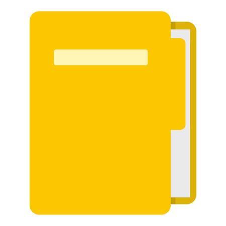 Yellow file folder icon flat isolated on white background vector illustration Illustration