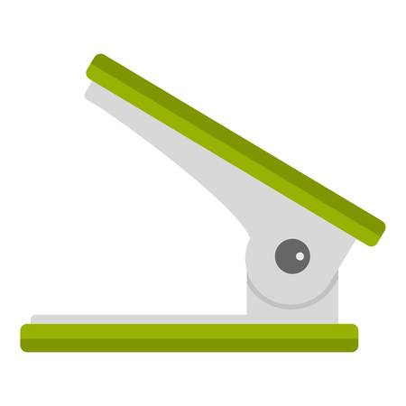 punching: Green office hole punch icon isolated