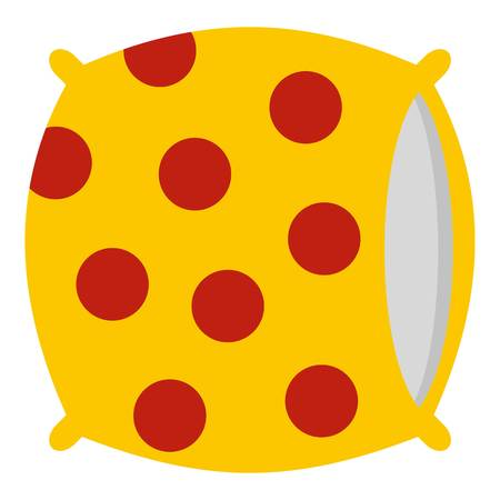 Yellow pillow with red dots icon isolated Illustration
