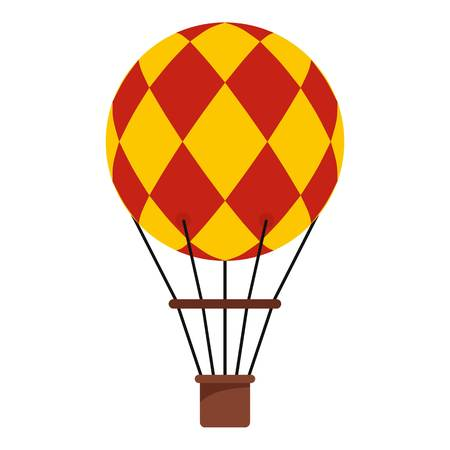 Yellow and red hot air balloon with basket icon flat isolated on white background vector illustration