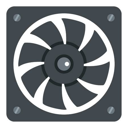 pc case: Computer power supply fan icon flat isolated on white background vector illustration